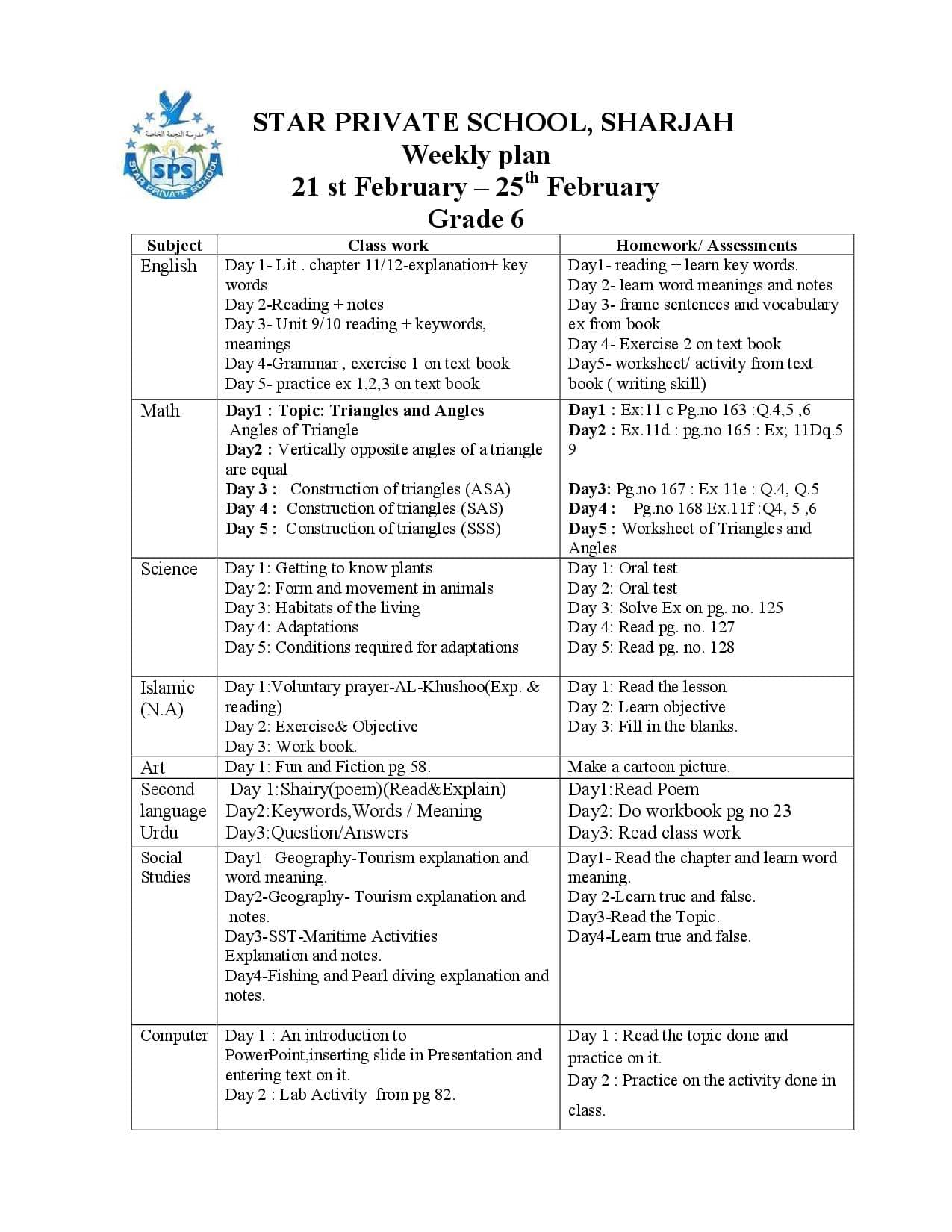 Weekly Plan Grade 4 to 8 (21st Feb'16 to 25th Feb'16) | Star